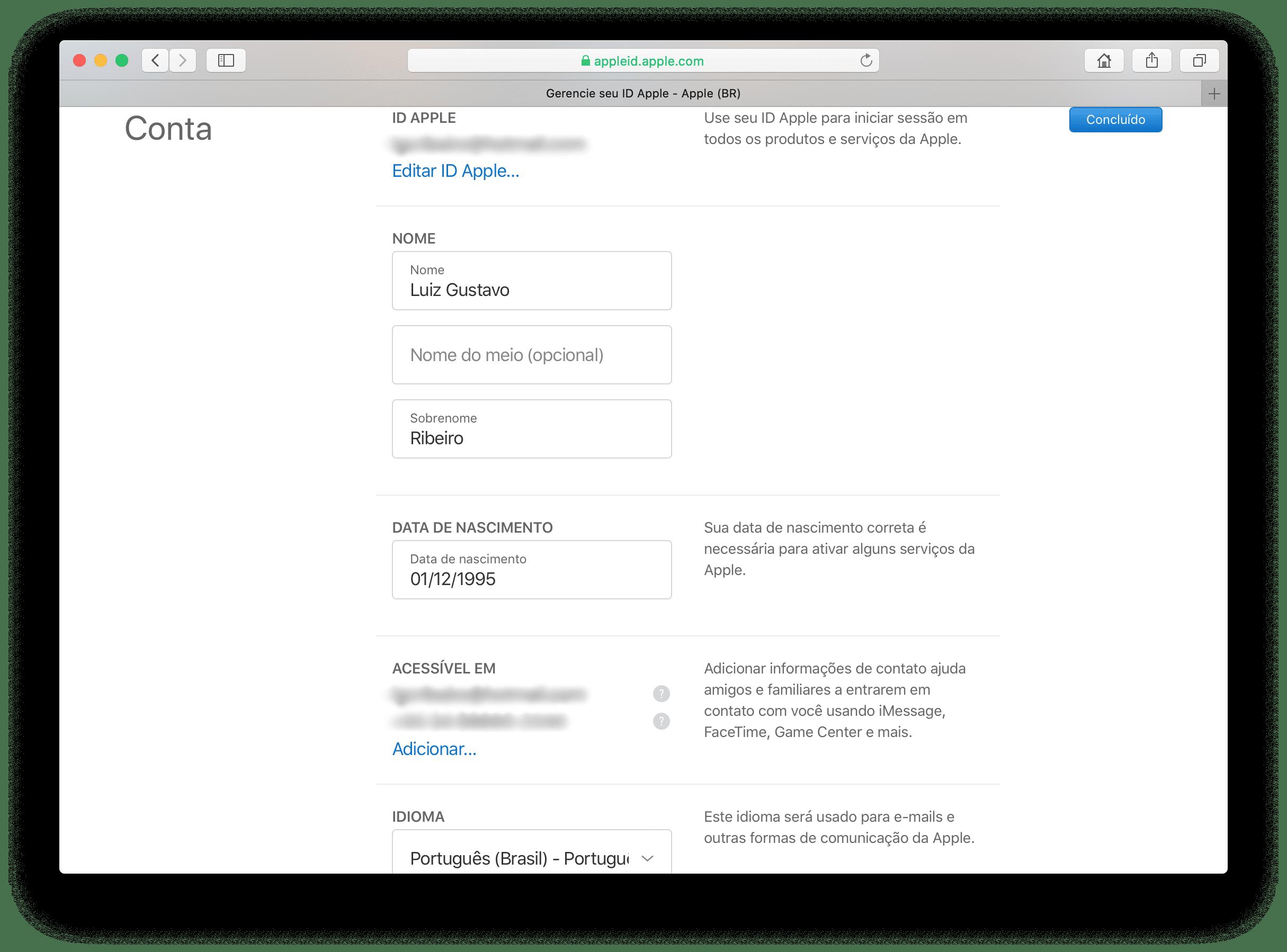 Ajustes do ID Apple na web