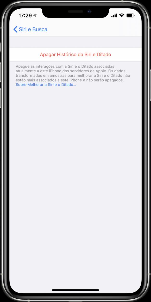 Apagando gravações da Siri