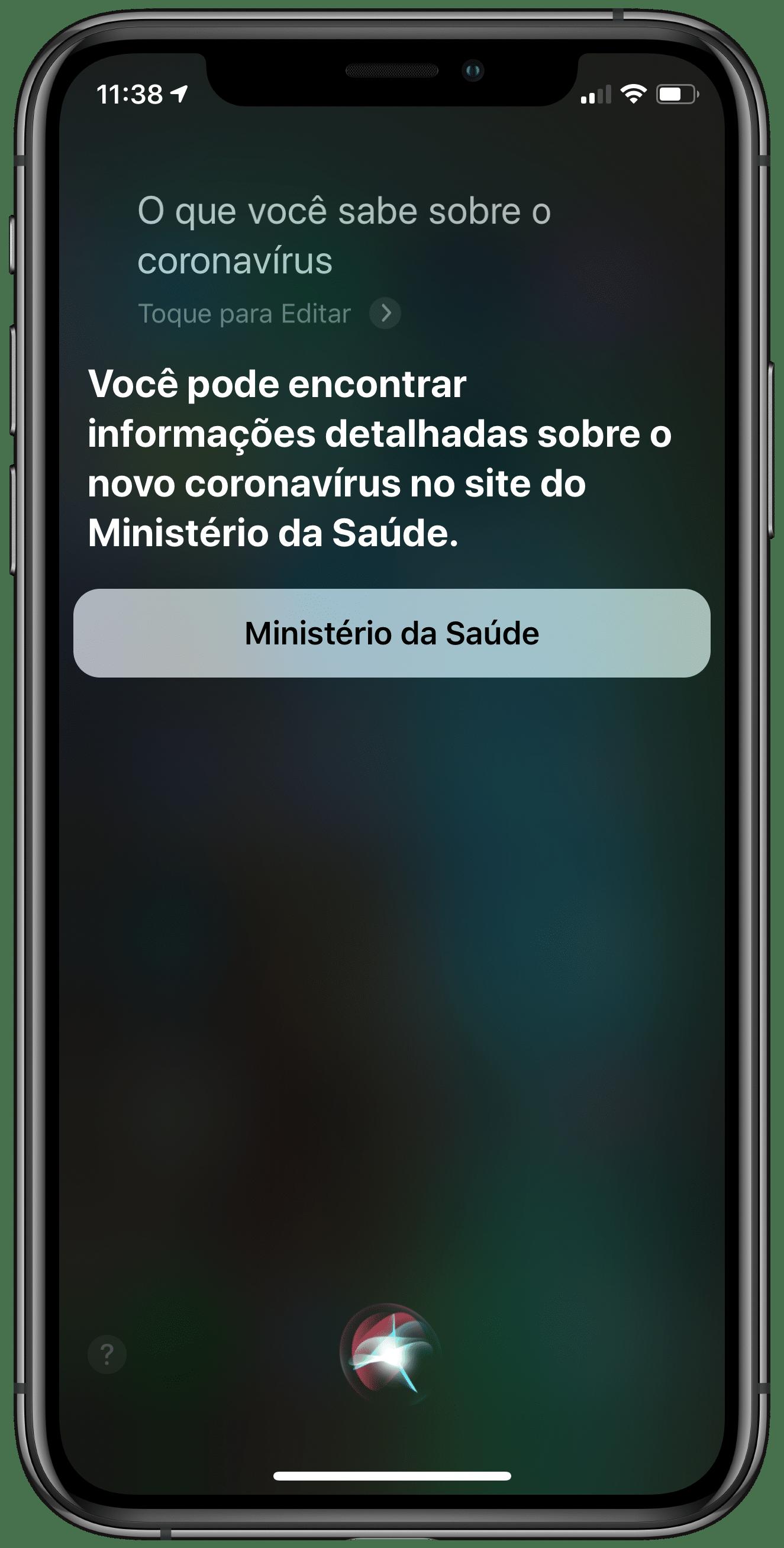 Informações da Siri sobre o COVID-19