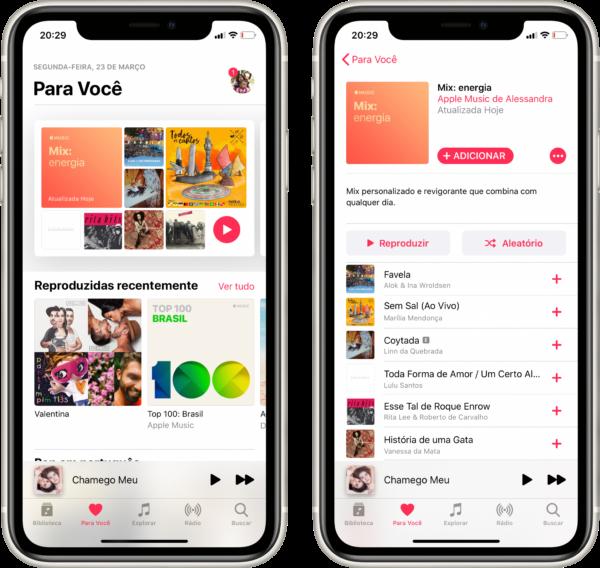Playlist Mix: energia, do Apple Music