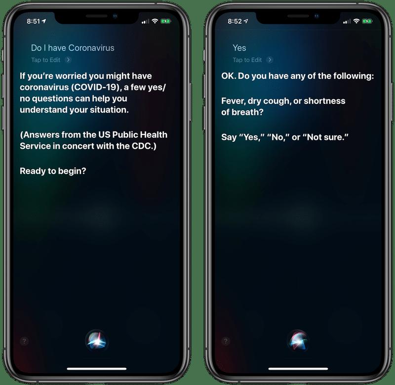 Questionário COVID-19 da Siri
