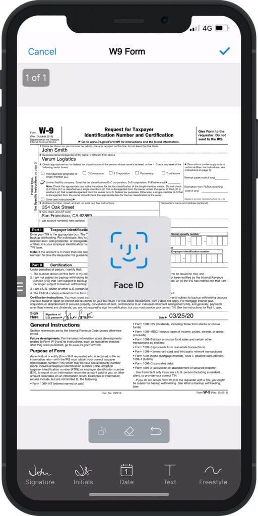 SignEasy com Face ID