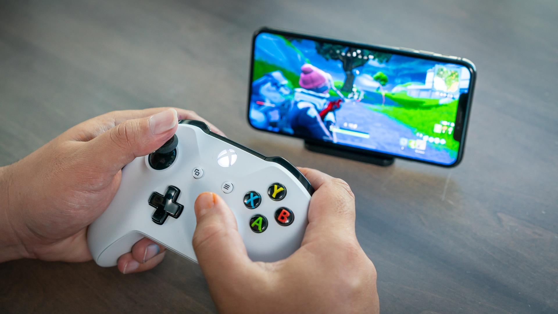 Controle Xbox emparelhado com o iPhone
