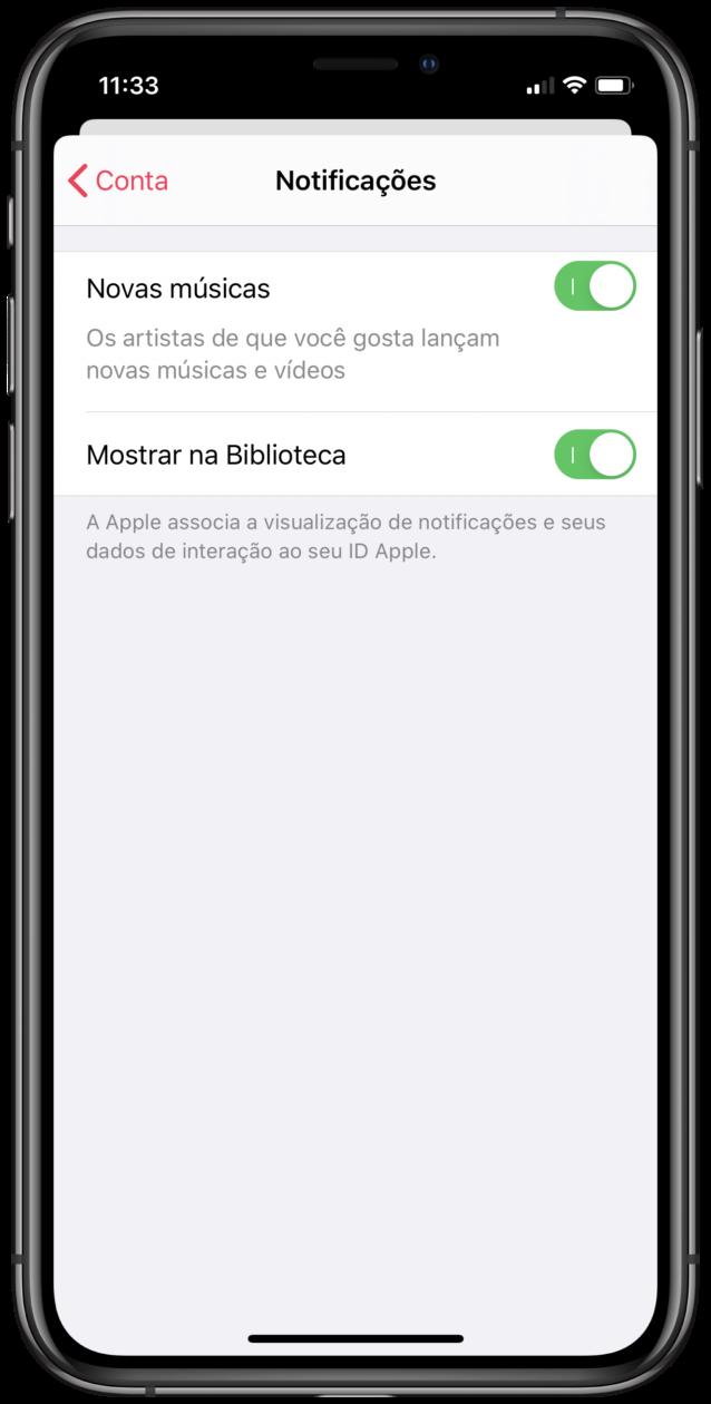 Notificações do Apple Music
