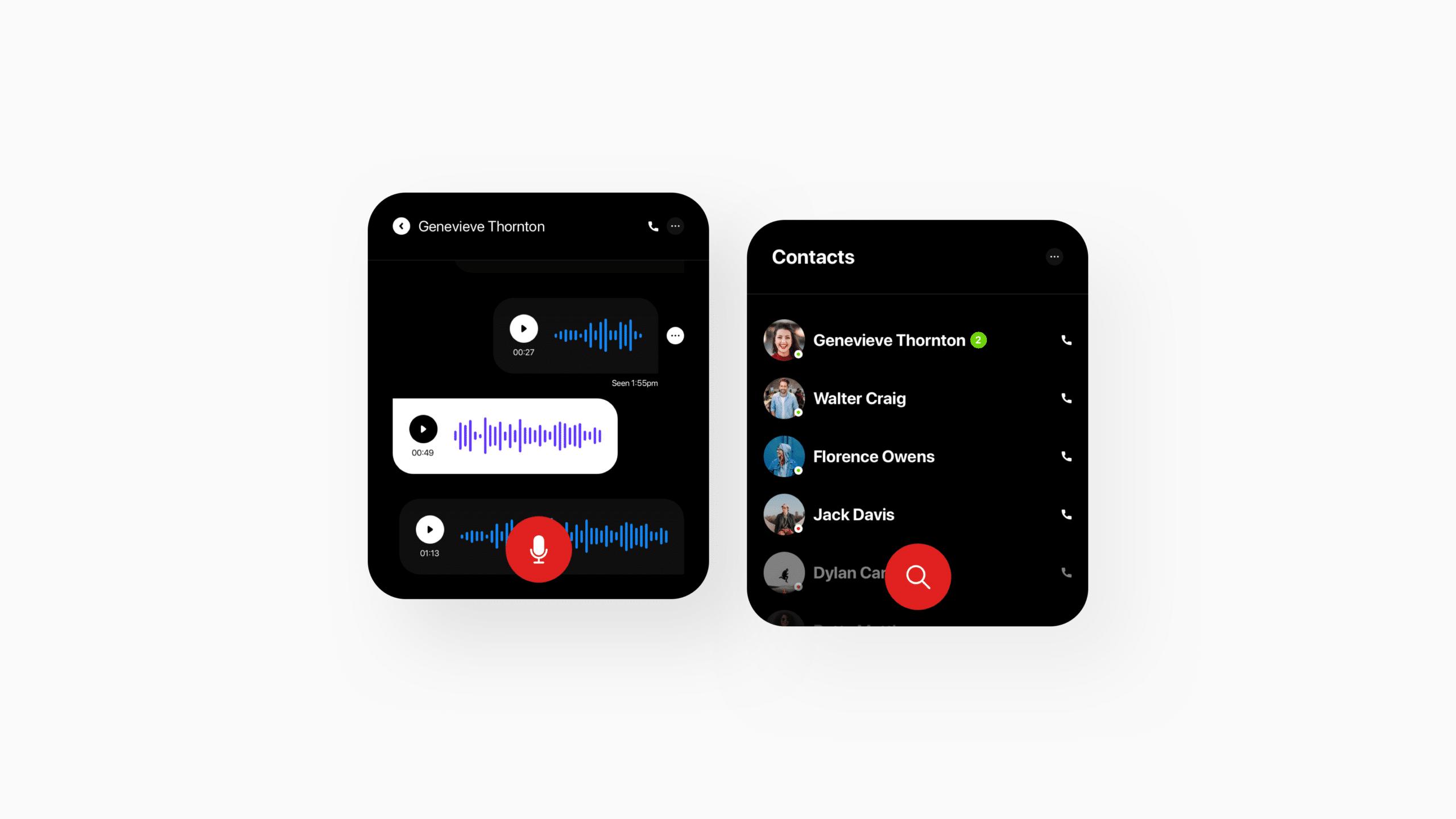 Conceito de chat por voz no Apple Watch