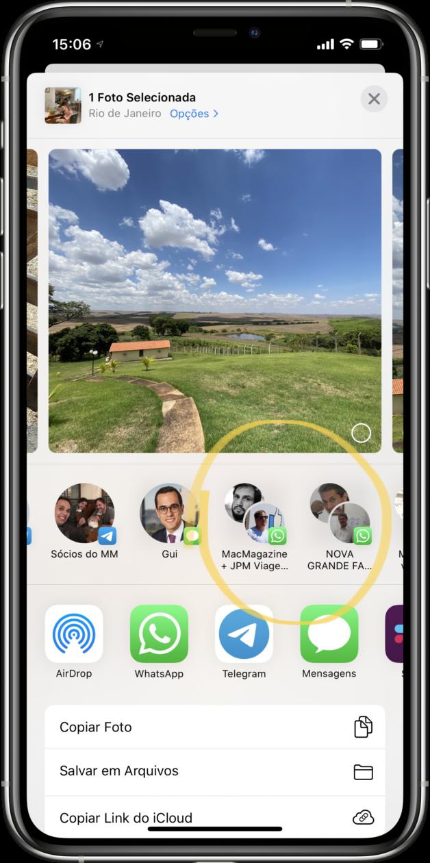 Sugestão de contatos no WhatsApp Messenger ao compartilhar um arquivo