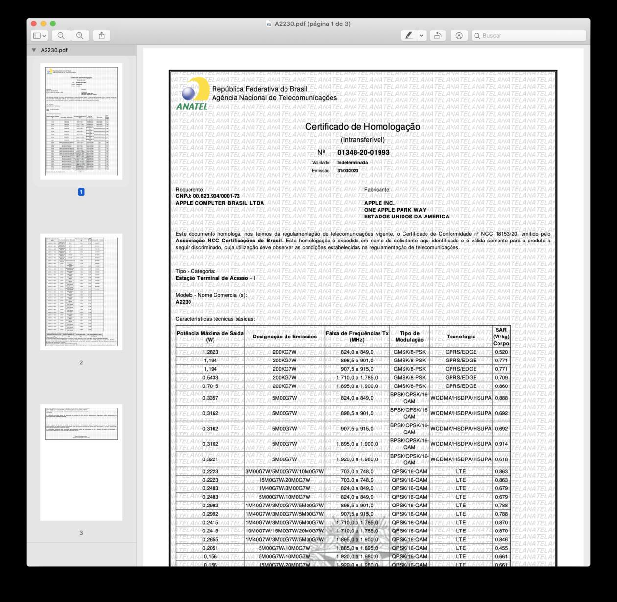 """Certificado de Homologação do iPad Pro de 11"""" Wi-Fi + Cellular (A2230) pela Anatel"""