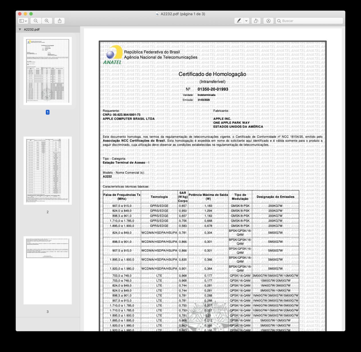 """Certificado de Homologação do iPad Pro de 12,9"""" Wi-Fi + Cellular (A2232) pela Anatel"""