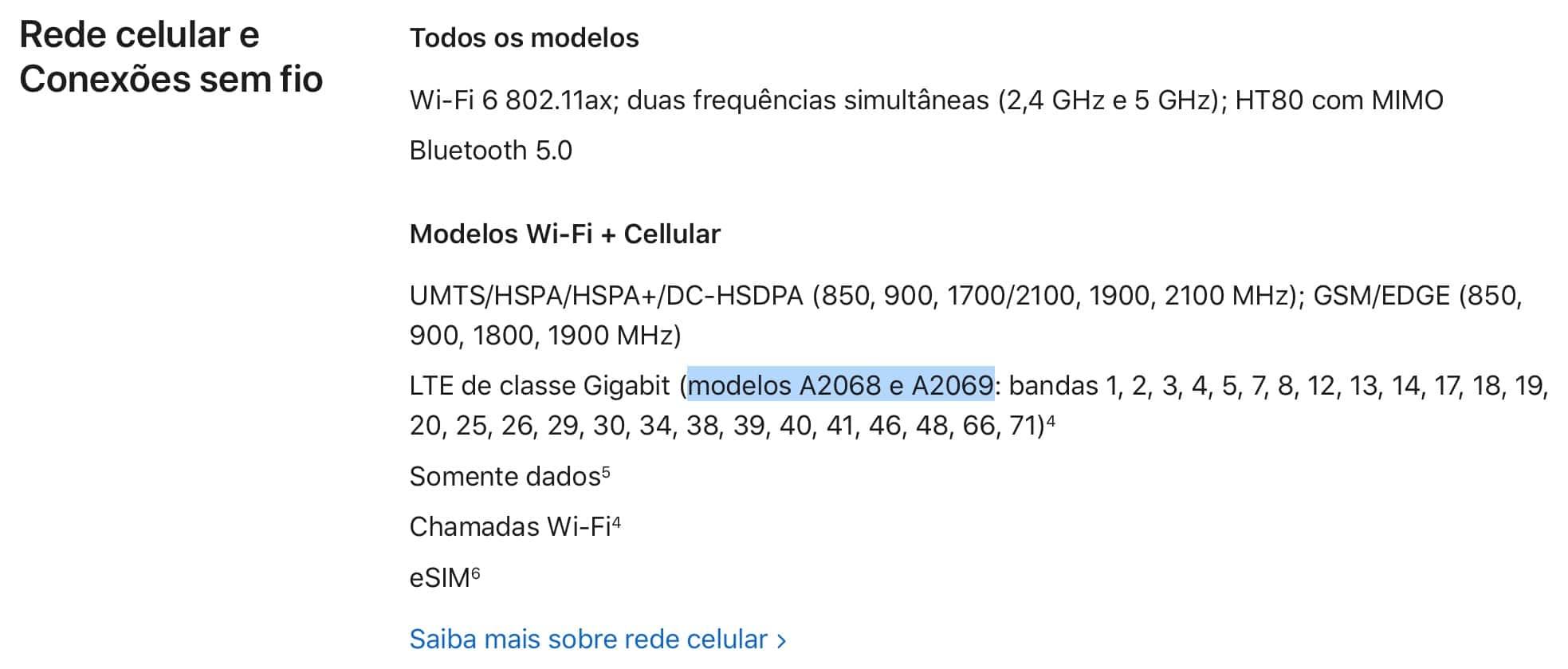 Modelos de iPads Pro na página de especificação da Apple
