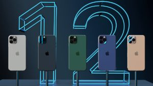 "Mockup de vitrine com ""iPhones 12"""