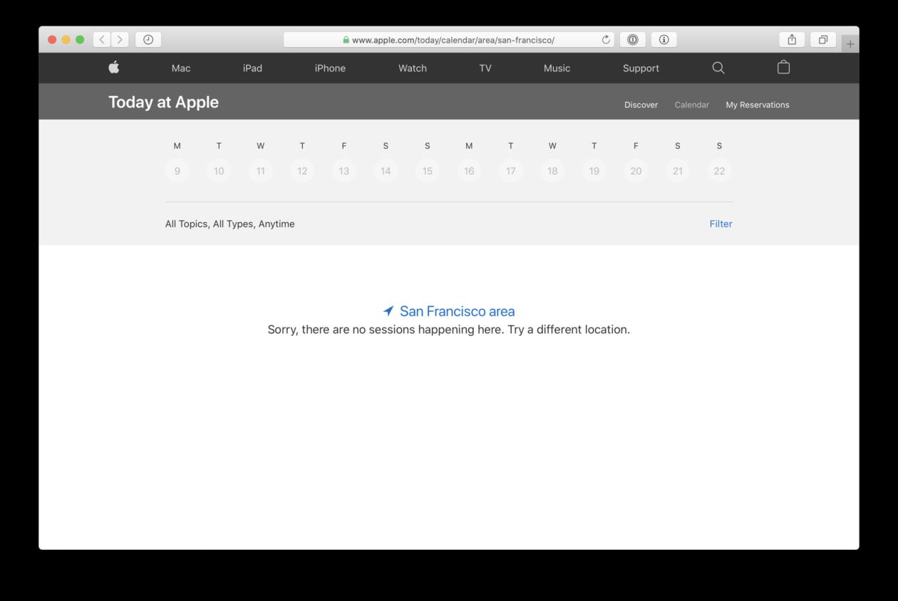 Sessões do Today at Apple canceladas