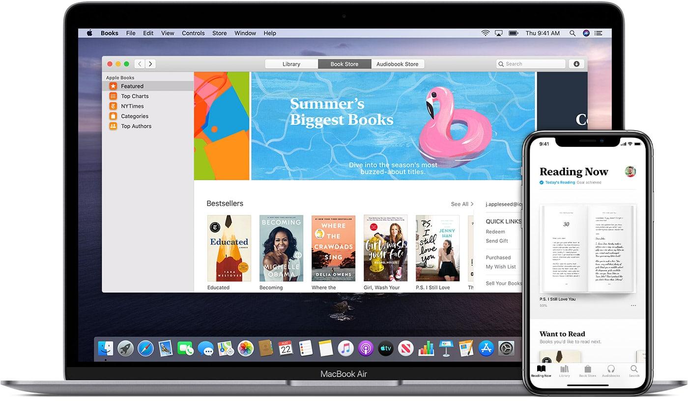 Apple Books no MacBook Air e iPhone XS