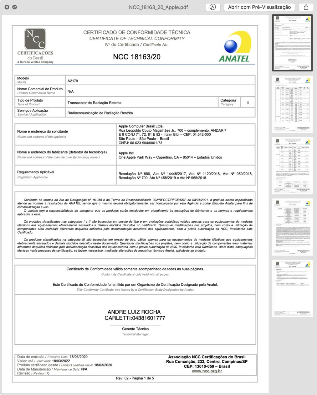 Certificado de conformidade técnica do MacBook Air