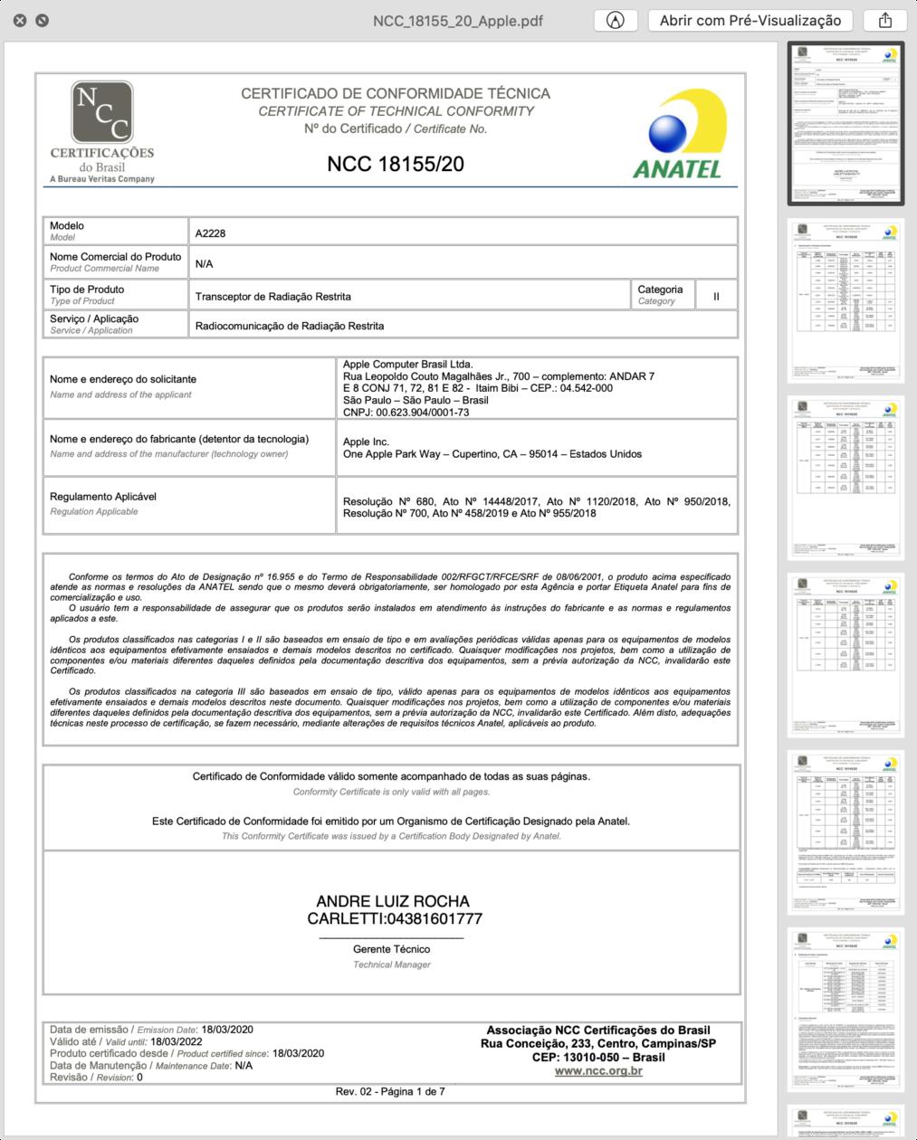 """Certificado de conformidade técnica do iPad Pro Wi-Fi de 11"""""""