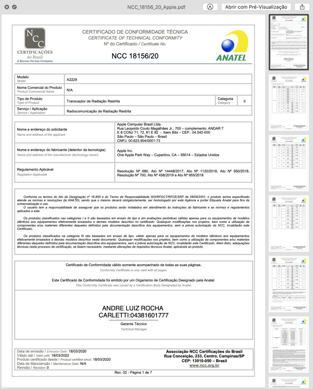 """Certificado de conformidade técnica do iPad Pro Wi-Fi de 12,9"""""""