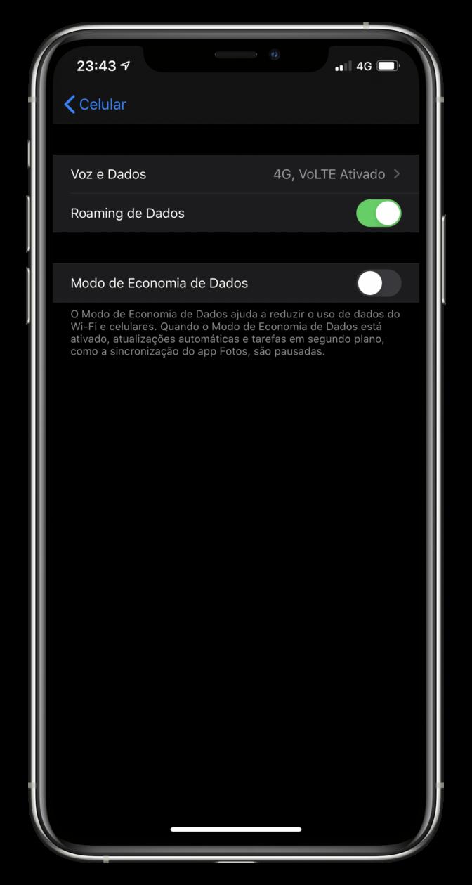 Modo de Economia de Dados no iOS 13