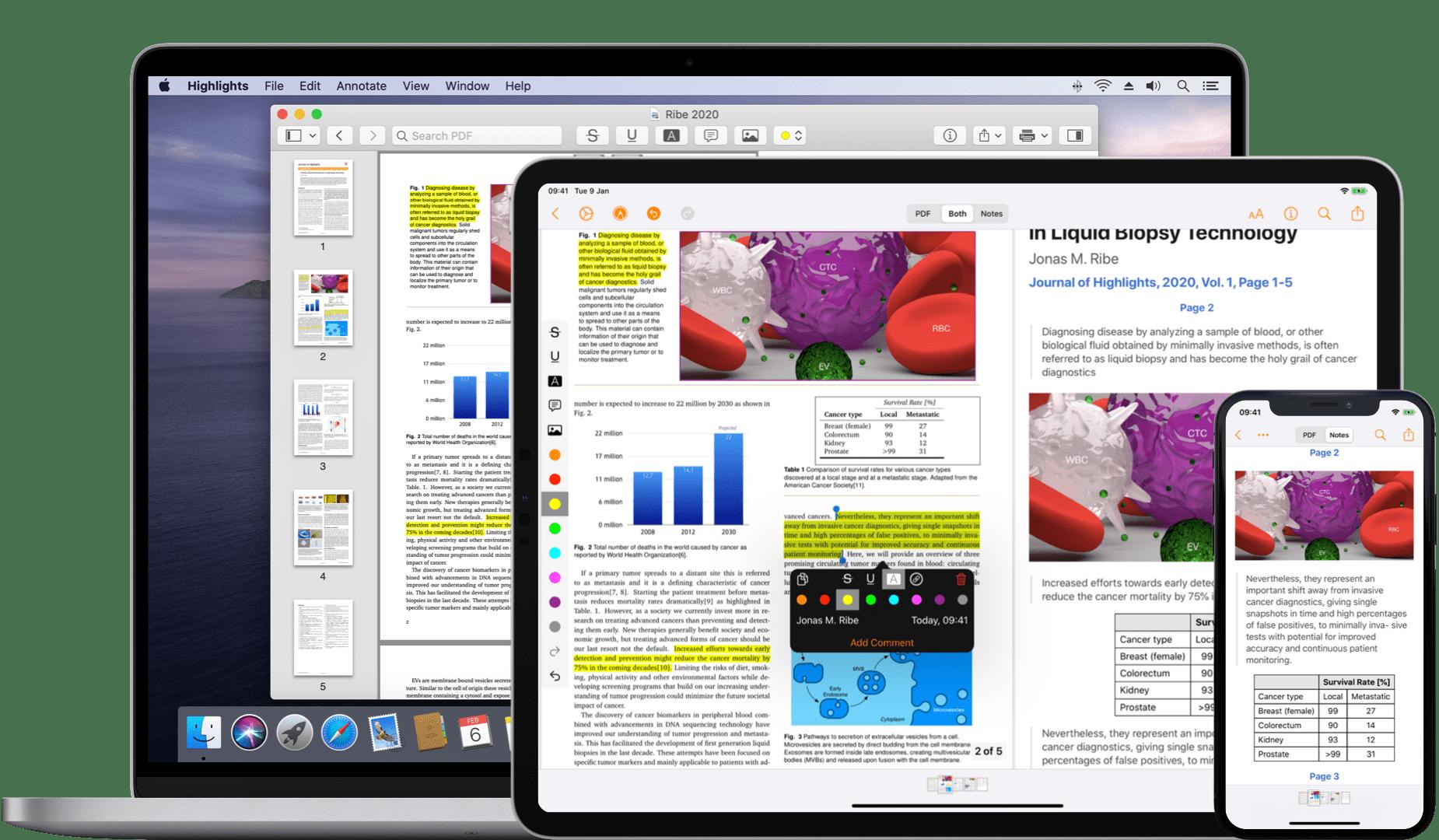 Leitor de PDF Highlights para macOS e iOS