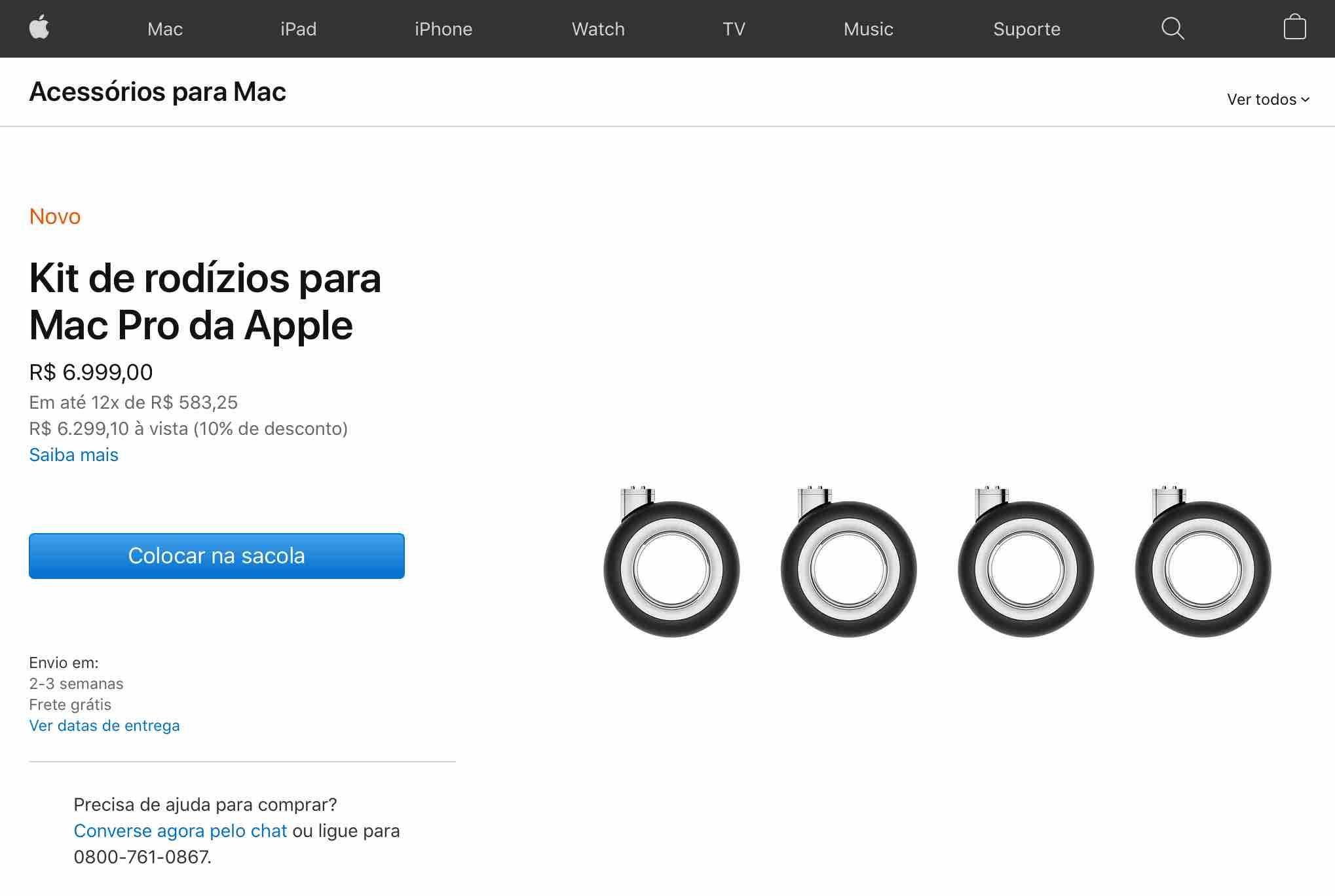 Kit de rodinhas pro Mac Pro