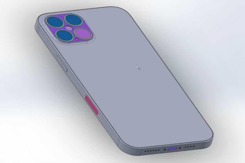 Esquema da câmera traseira do iPhone 12 Pro Max