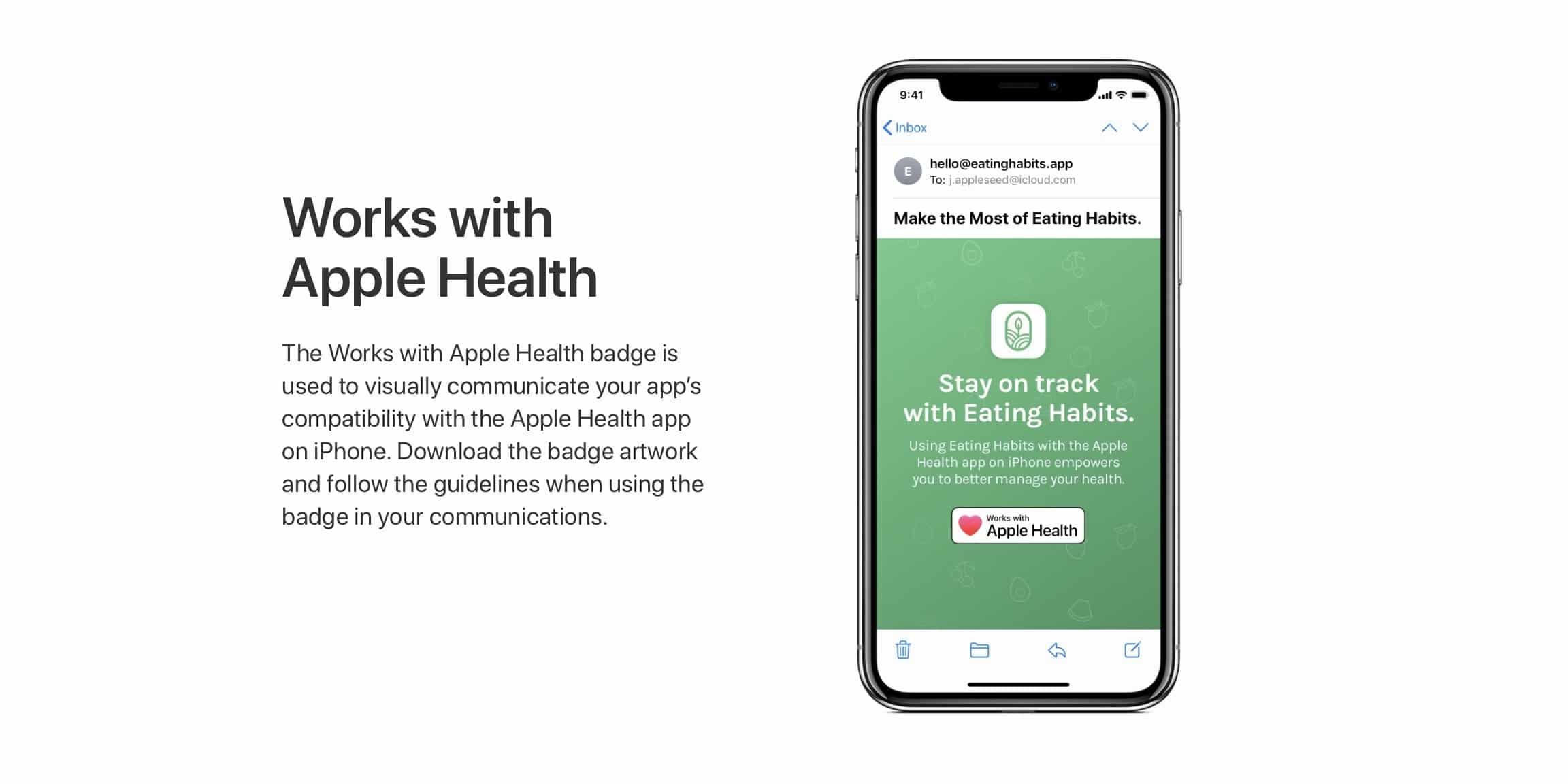 Diretrizes do selo Works With Apple Health