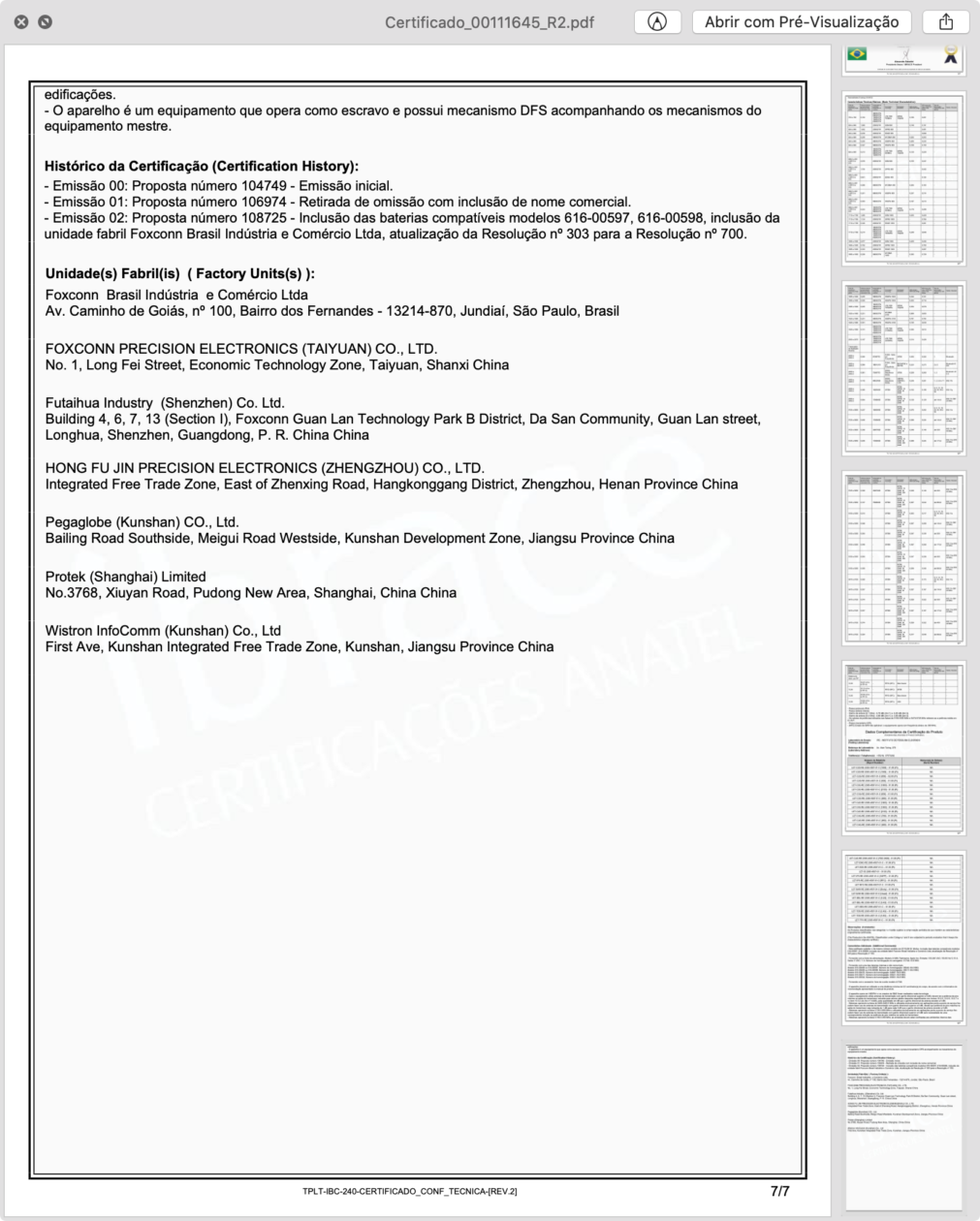 Certificado de Conformidade Técnica do iPhone XR