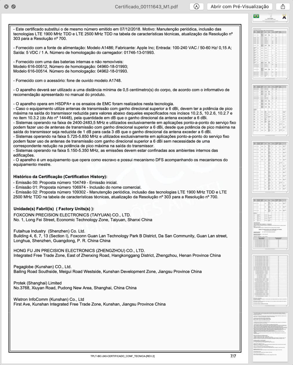 Certificado de Conformidade Técnica do iPhone XS