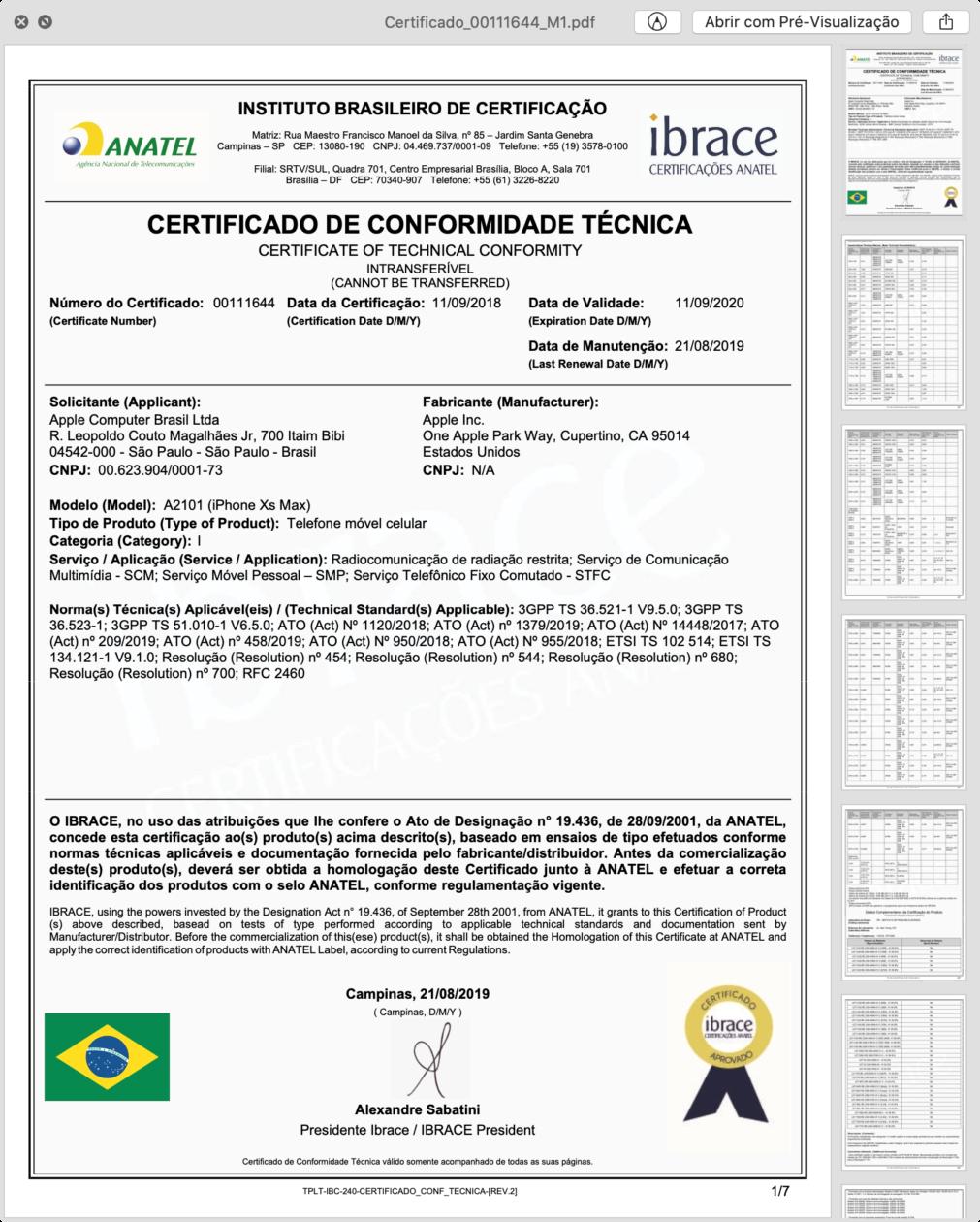 Certificado de Conformidade Técnica do iPhone XS Max