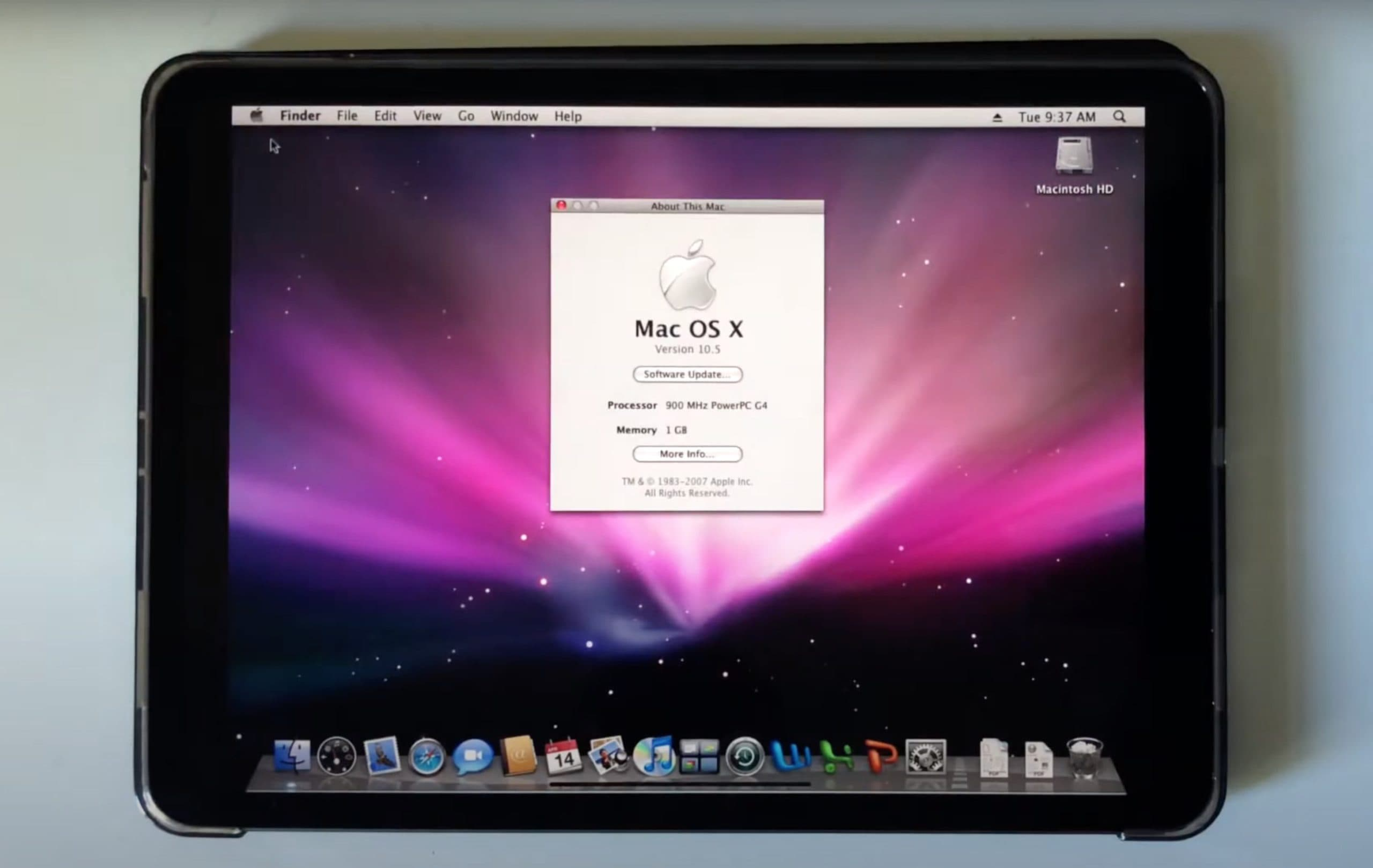 Mac OS X Leopard rodando num iPad Pro