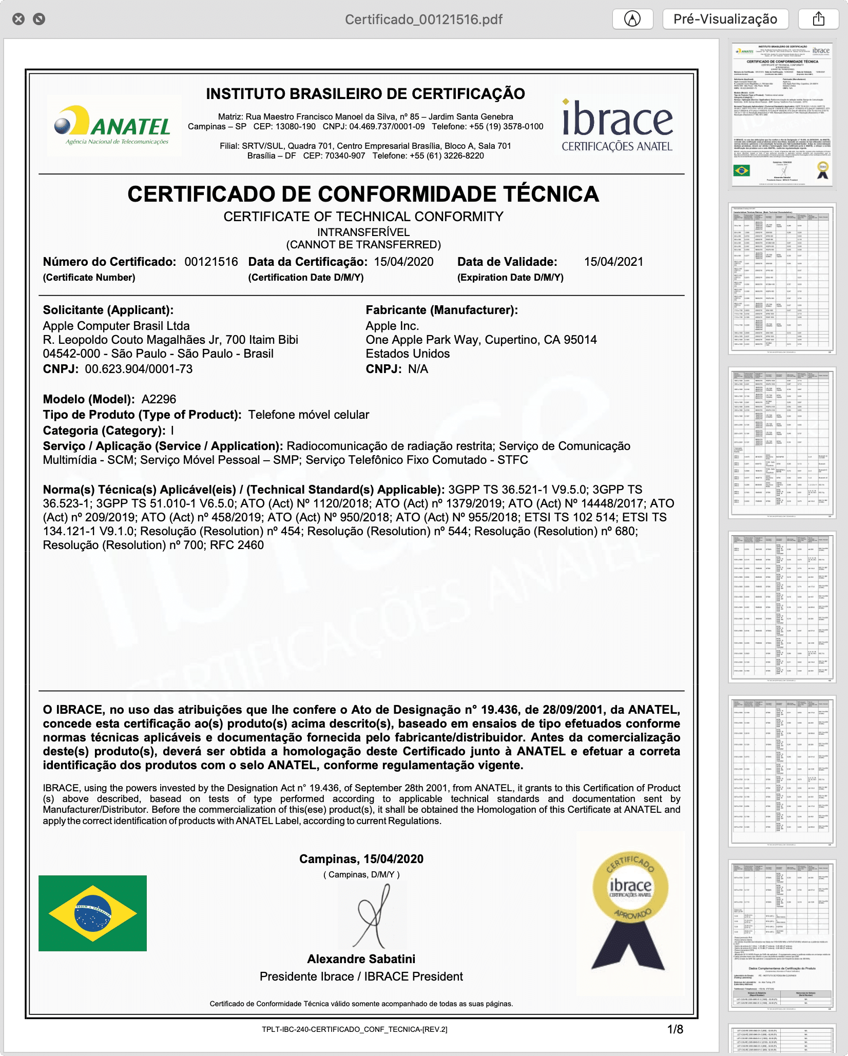 Certificado de Conformidade Técnica do novo iPhone SE