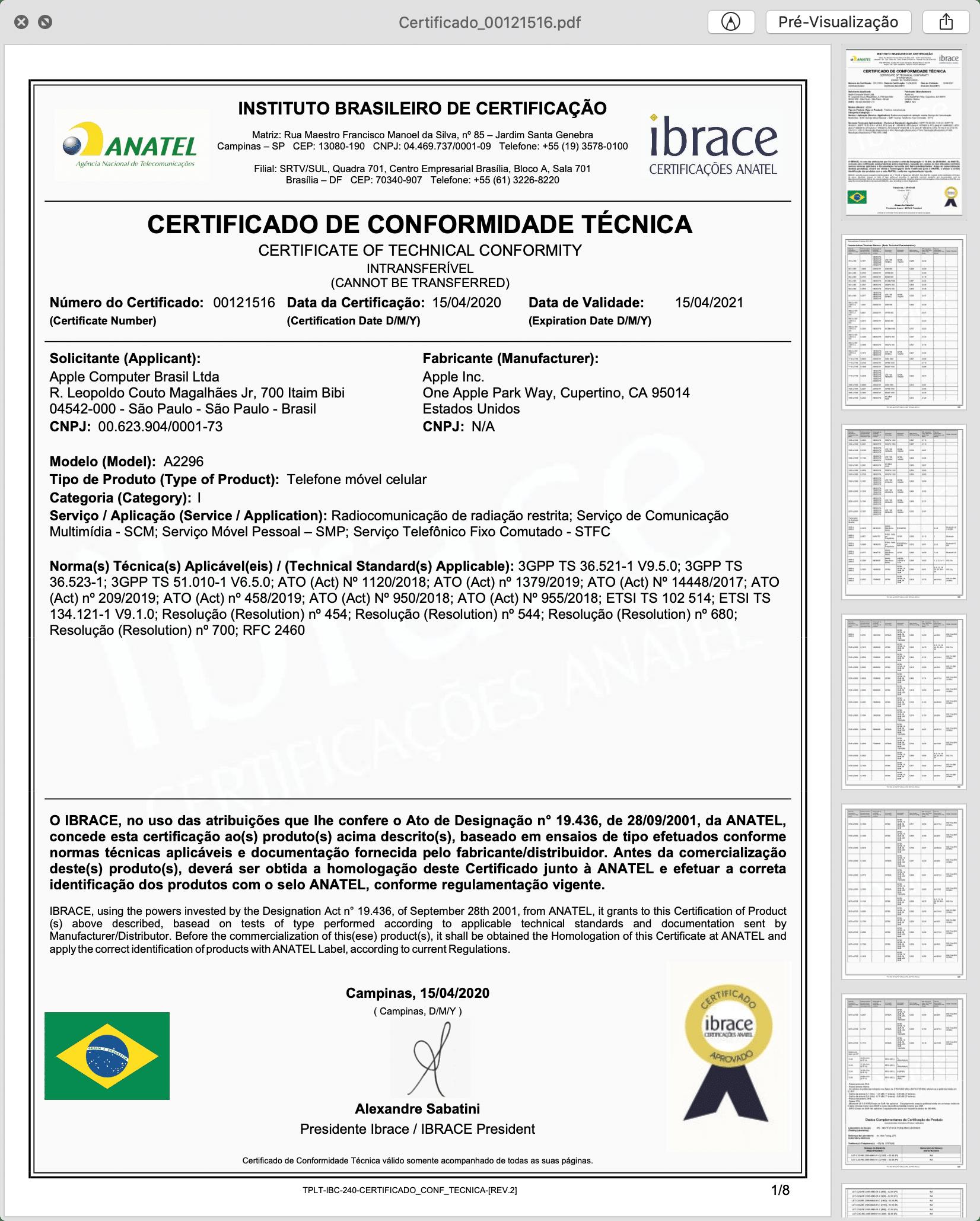 Certificado de Conformidade Técnica do novo iPhone SE