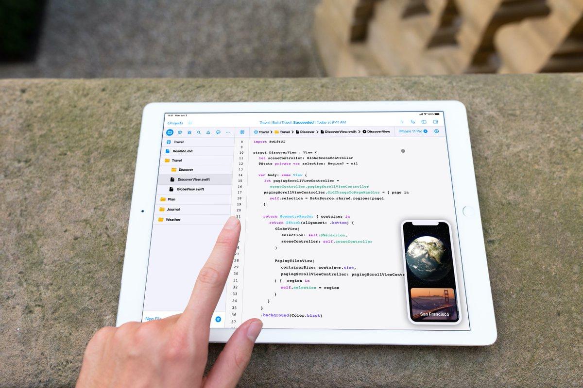 Conceito do Xcode para iPad