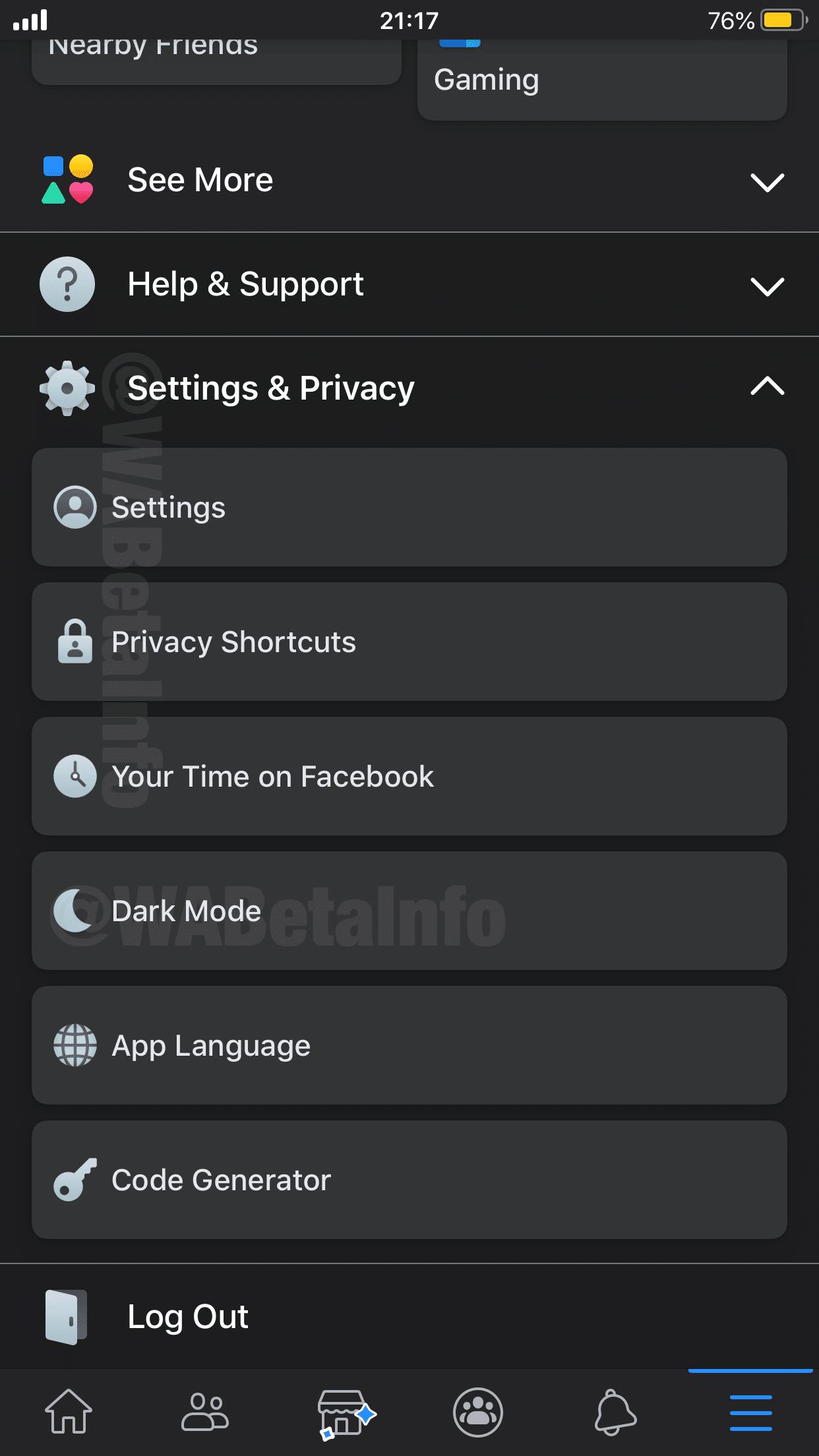 Modo Escuro no app Facebook para iOS