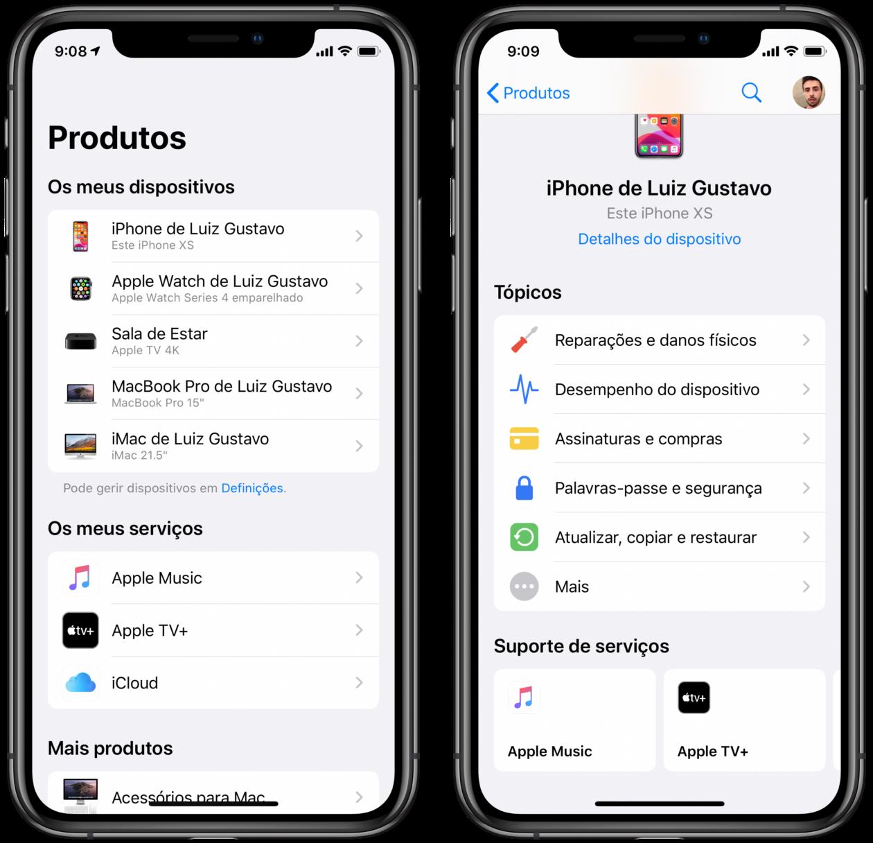 App Suporte da Apple