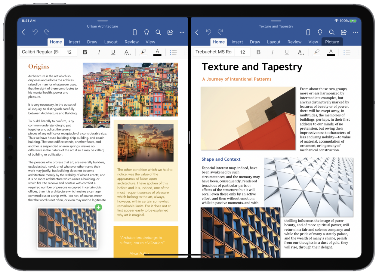 Duas janelas do app Word rodando em modo Split View no iPad