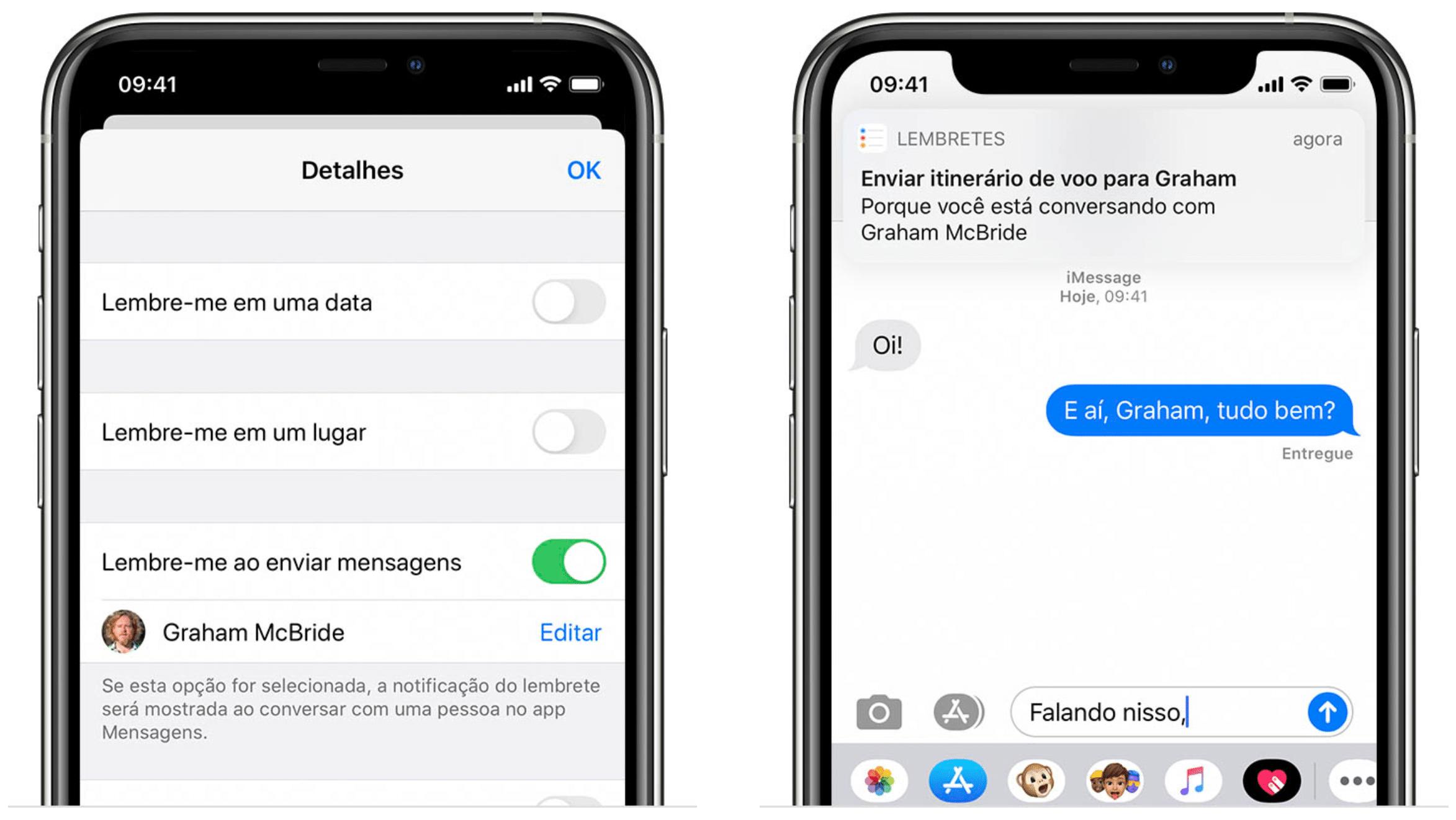 Configurar alerta no iMessage no Lembretes