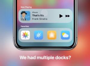 Conceito de múltiplos docks no iOS 14