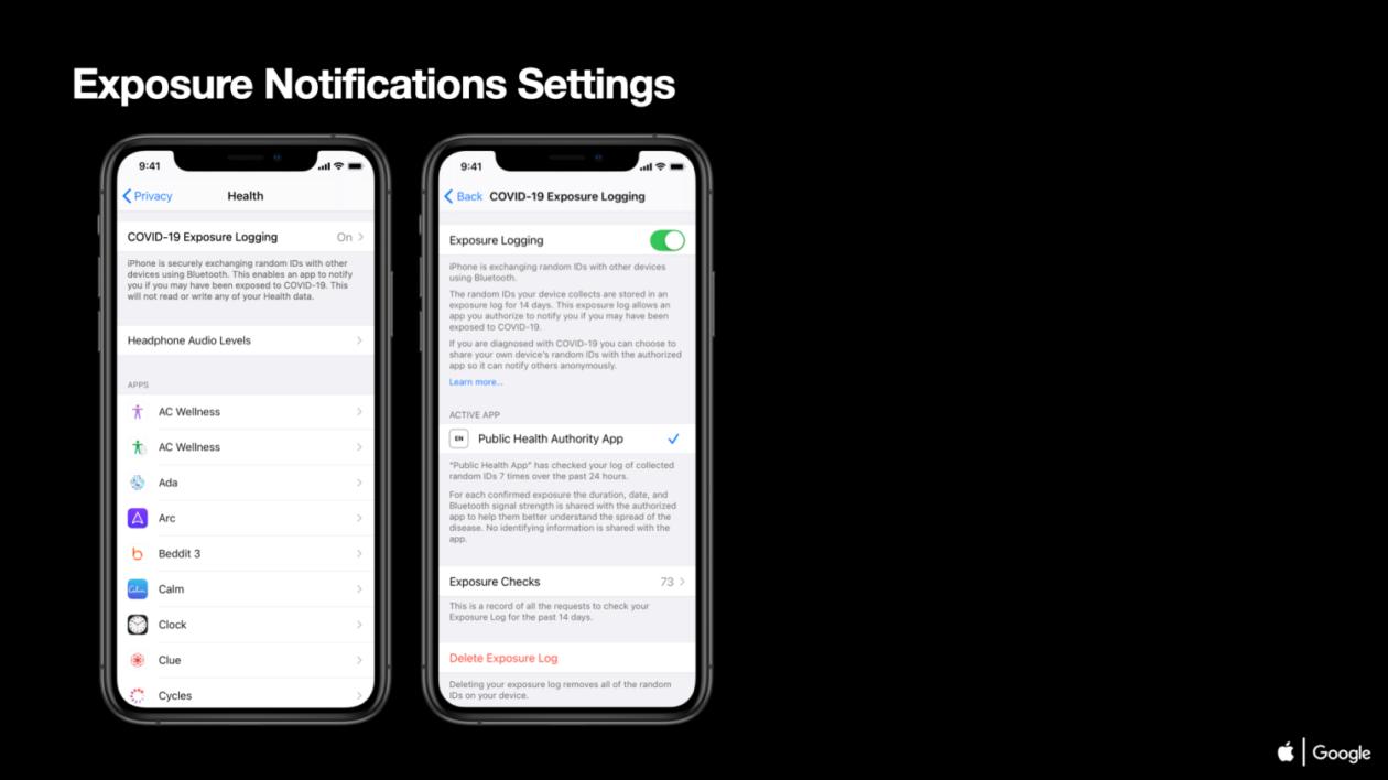 Exemplo de interface da Apple para o framework de notificação da COVID-19