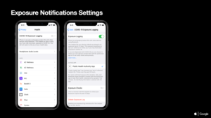 Exemplo de interface da Apple para o framework de notificação da COVID-19