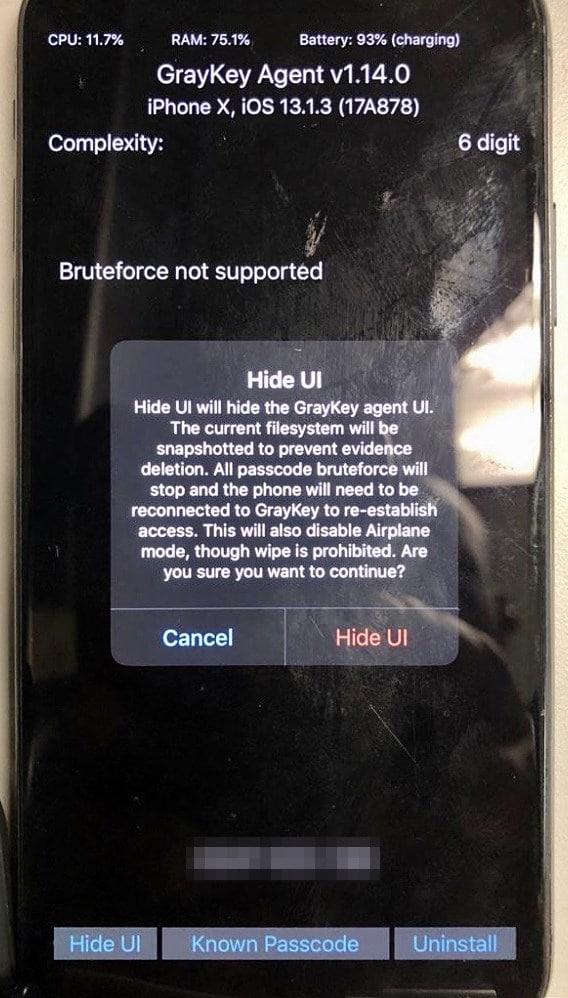 Hide UI, ferramenta da Grayshift para desbloquear iPhones