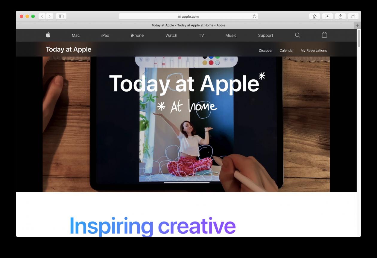 Página do Today At Apple At Home