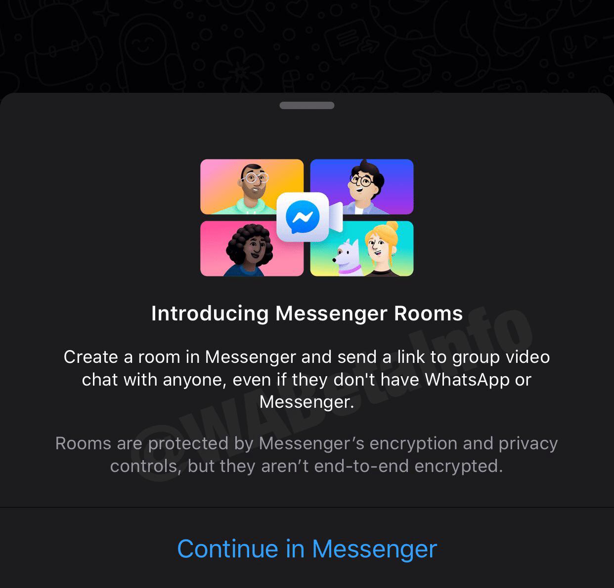 Atalho das Salas do Messenger no WhatsApp