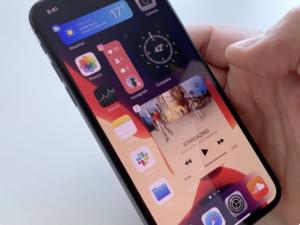 Conceito de widget na tela inicial do iPhone