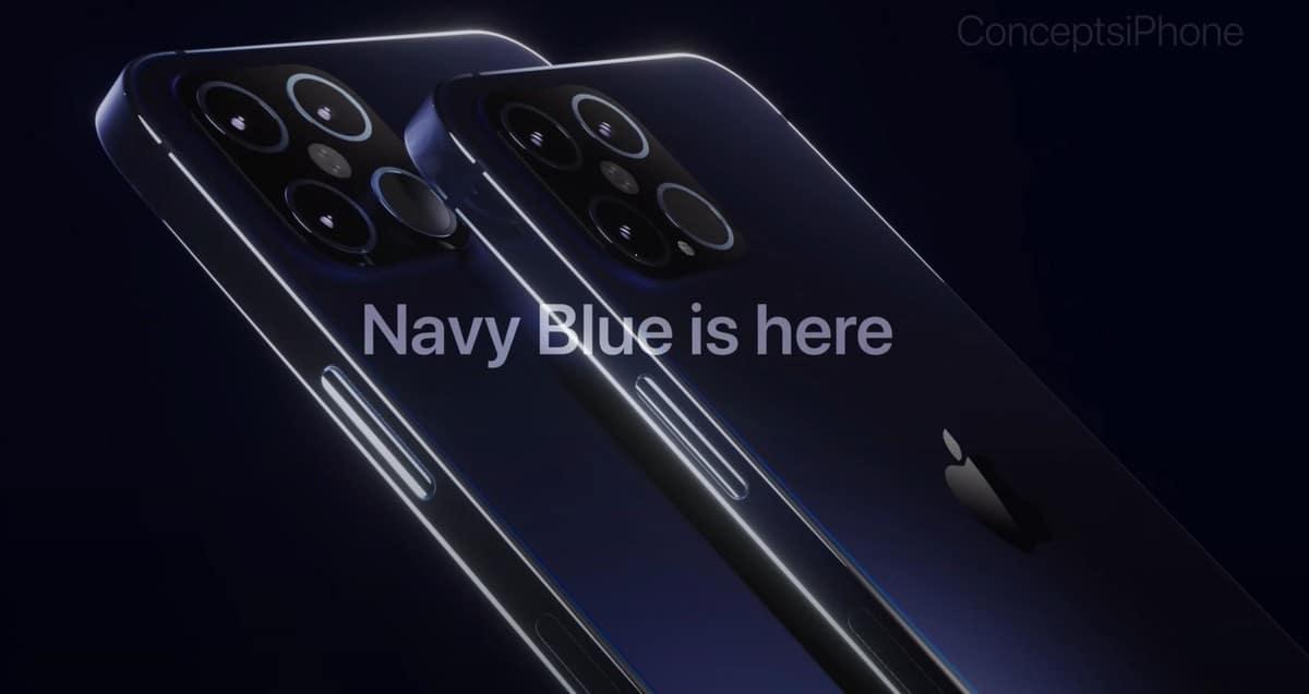 Conceito de iPhone 12 Pro azul-marinho