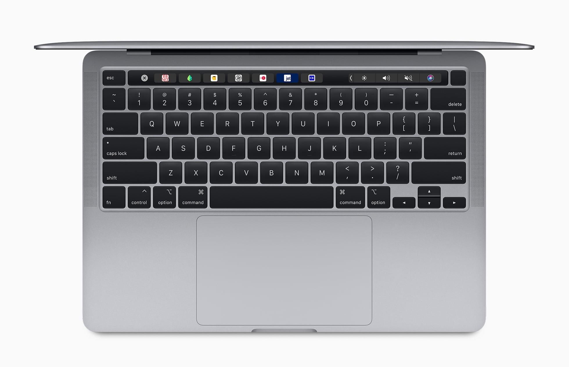 Magic Keyboard do novo MacBook Pro de 13 polegadas visto de cima