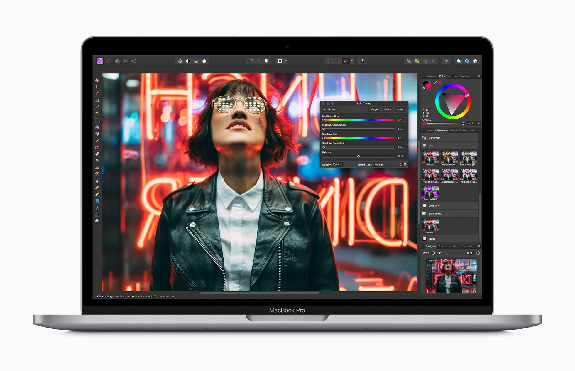 Novo MacBook Pro de 13 polegadas rodando o Affinity Photo