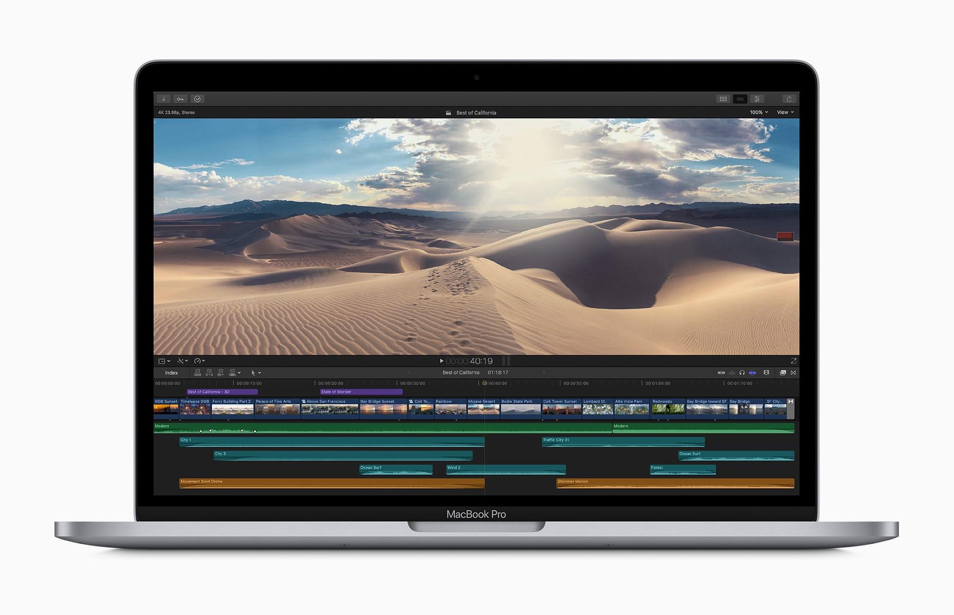 Novo MacBook Pro de 13 polegadas rodando o Final Cut Pro