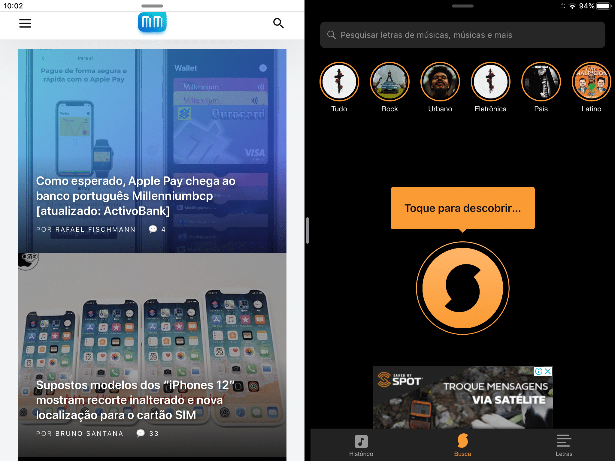 SoundHound na Split View