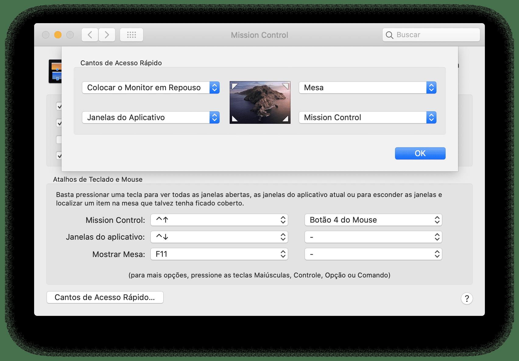 Desligando a tela do Mac com o mouse