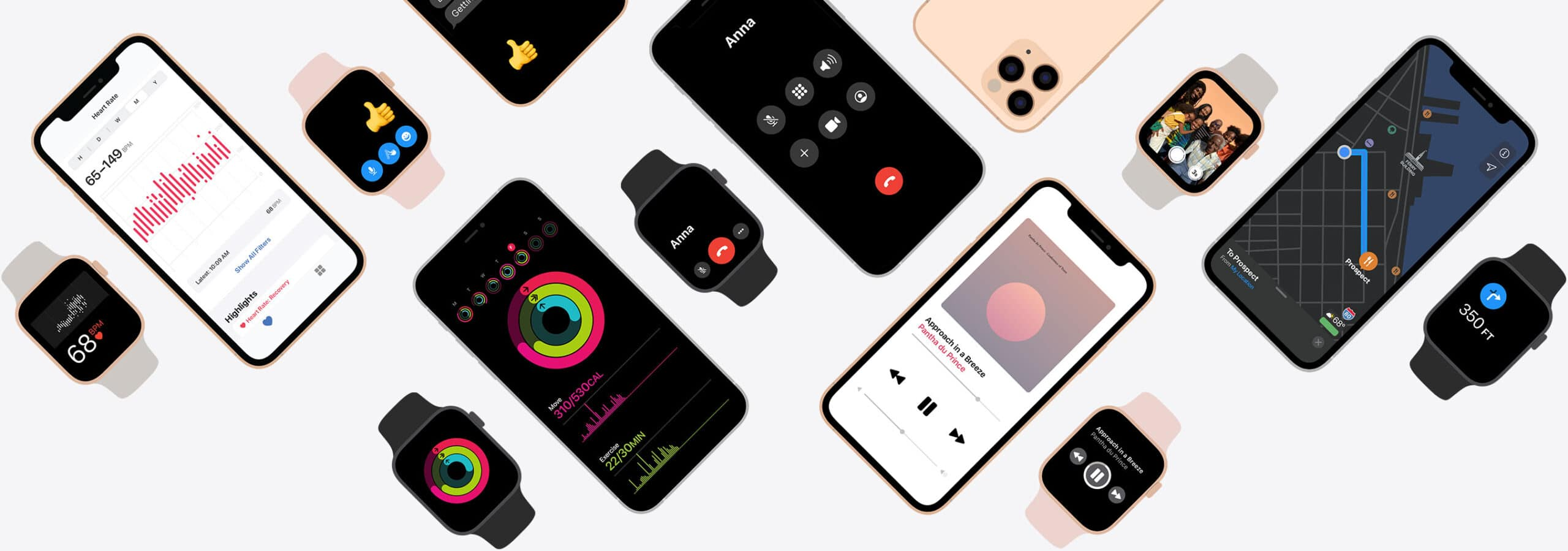 Gráfico hero com iPhones e Apple Watches