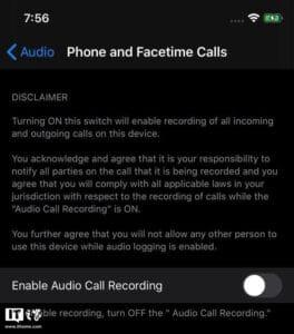 Suposto recurso de gravar ligações do iOS 14